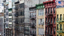 Colorful Buildings Line A Block In Chinatown, New York City