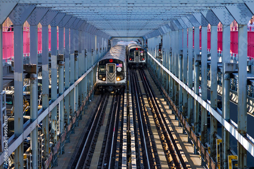 Fotografie, Obraz  New York City Subway Cars Crossing a Bridge