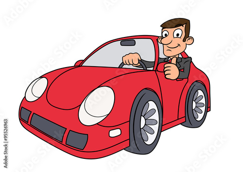 Staande foto Cartoon cars Businessman driving car