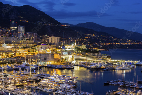 obraz dibond View on Monte Carlo in Monaco in the evening