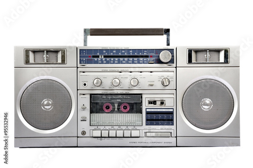 Fotografía  1980s Silver radio boom box  isolated on white. front