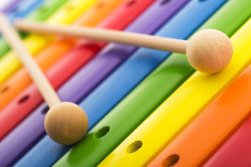 FototapetaRainbow colored wooden toy xylophone texture against white backg