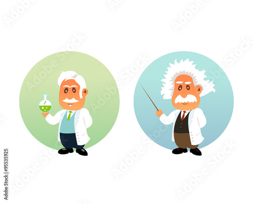 Photo  Funny illustration of Chemist and Mathematician