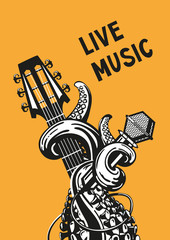 Panel Szklany Muzyka / instrumenty live music. Rock poster with a guitar, microphone and tentacles.