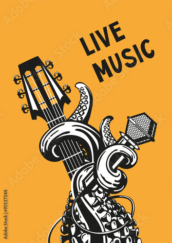 Photo live music. Rock poster with a guitar, microphone and tentacles.