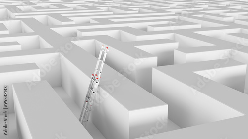 Fotografie, Obraz  Leiter an Wand im Labyrinth