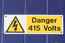 Danger 415 Volts Sign With Sym...