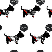 Seamless Pattern With Sketchy Dogs. Scottish Terrier