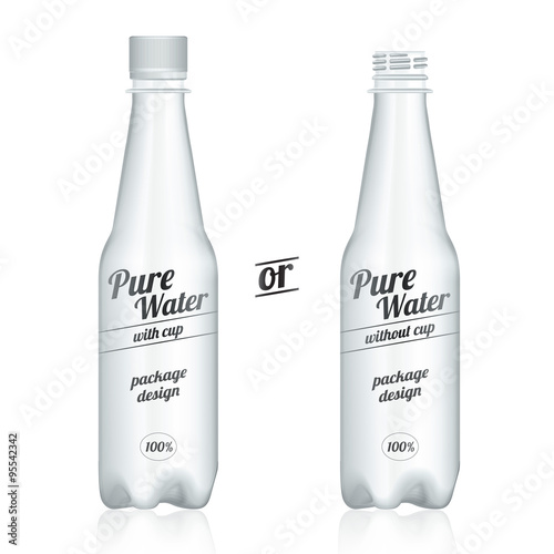 Fotografie, Obraz  Vector plastic bottle packages with cup