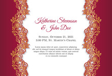 Classical Wedding Invitation With Golden Ornament And Red Border