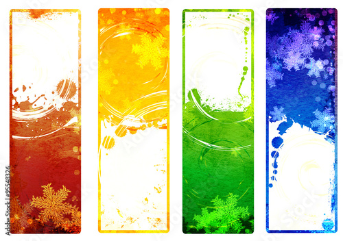 Poster Abstract wave Set of banners with grunge Christmas backgrounds with snowflakes