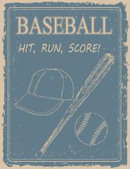 Panel Szklany Do pokoju chłopca Vintage baseball poster