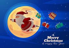 Funny Santa. Christmas Greeting Card Background Poster. Vector Illustration