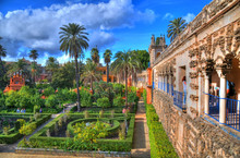 HDR Photo Of The Beautiful Amazing Gardens In Reales Alcazares In Seville - Residence Developed From A Former Moorish Palace In Andalusia, Spain