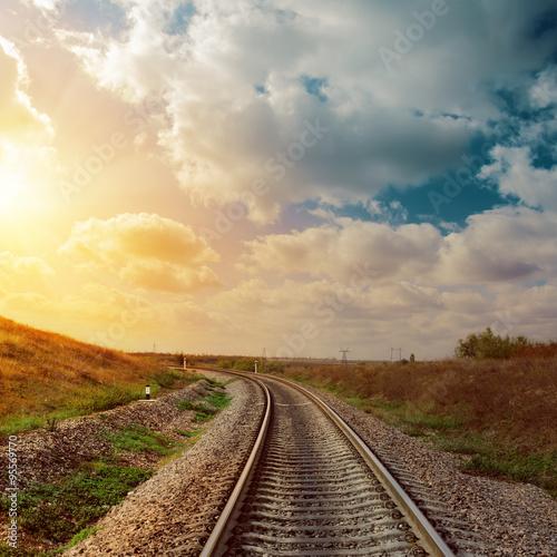 good sunset over railroad to horizon