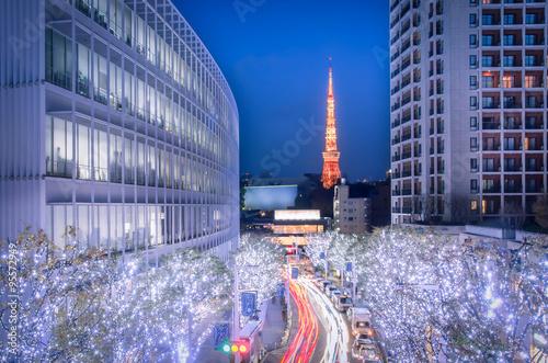 Plakat Oświetlenie zimowe w Tokio widziane ze Wzgórz Roppongi
