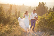 canvas print picture - Young happy just married couple posing on the top of the mountain. Wedding day