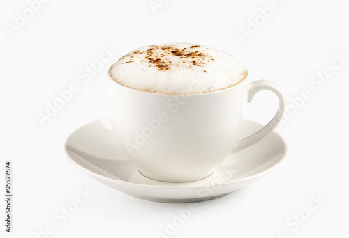 A cup of espresso coffee with foam isolated over white Fototapeta