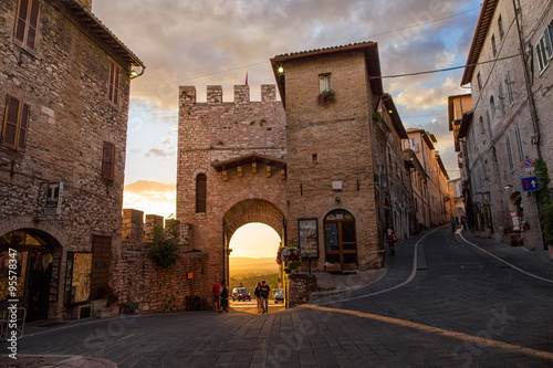 Beautiful alley in the ancient town of Assisi, Umbria, Italy Canvas Print