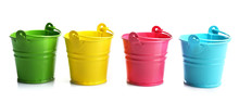 Four Buckets Of Different Colo...