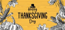 Hand Drawn Thanksgiving Day With Leaves, Pumpkin And Spica On Wood Background.  Vector Vintage Illustration For  Greeting Card.