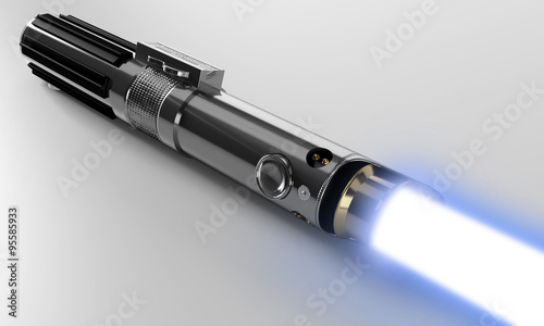 Photo  Realistic, blue, disabled lightsaber