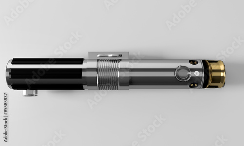 Realistic, blue, disabled laser sword top view Canvas Print