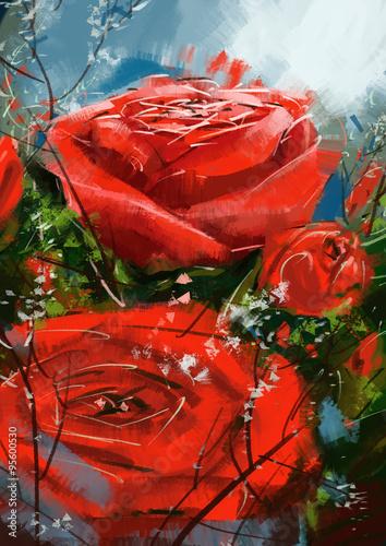 Nowoczesny obraz na płótnie roses red - Stock Image