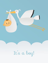 Baby Boy With A Flying Stork