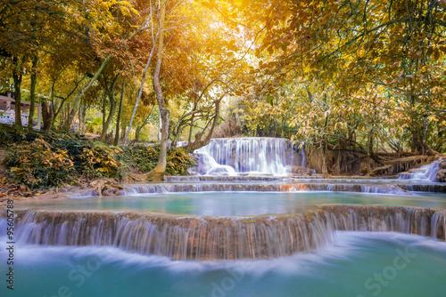 Waterfall in rain forest ( Tat Kuang Si Waterfalls at Luang prab © weerayut
