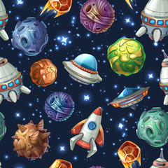 Tapeta Comic space planets and spaceships. Vector seamless pattern