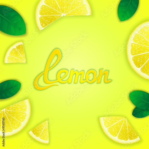 Photo  Photorealistic fruity composition with lemon slices around and inscription