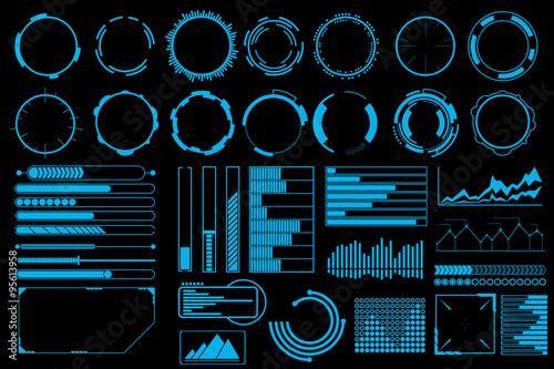 Fotografía  Futuristic user interface elements vector set