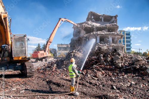 Demolition of buildings in urban Canvas Print
