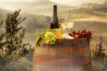 Fototapeta White wine with barrel on vineyard in Chianti, Tuscany, Italy