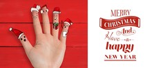 Composite Image Of Christmas Caroler Fingers