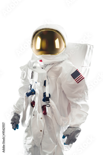 Astronaut standing on a white background