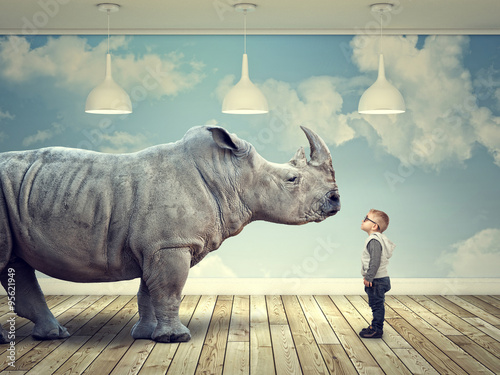 Spoed Foto op Canvas Neushoorn rhinoceros and kid