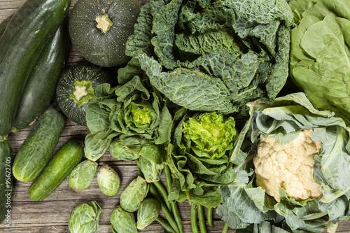 Photo sur Toile Legume Assortment of green vegetables