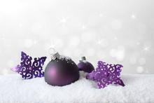 Christmas Decoration Snow Purple White