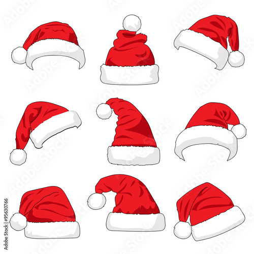 Set of red Santa Claus hats isolated on white background vector illustration 713b99e9433f