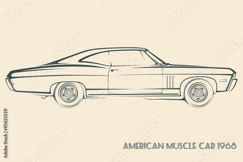Papel de parede  American muscle car silhouette 60s