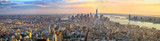Fototapeta New York - Manhattan panorama at sunset aerial view, New York, United States