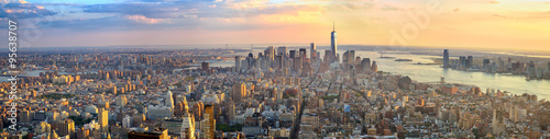 Manhattan panorama at sunset aerial view, New York, United States