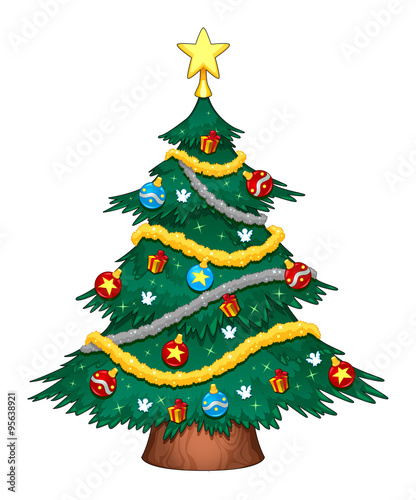 Poster Chambre d enfant Christmas tree with decorations