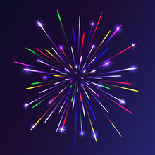 Abstract Colorful Fireworks Background. Christmas Lights. Vector Illustration.