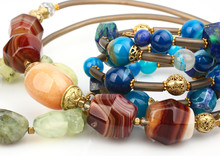 Close-up Of Colorful Natural Precious Gems Jewelry