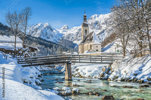 Poster Gris Idyllic mountain winter landscape with famous church and crystal clear river in Ramsau, Berchtesgadener Land, Bavaria, Germany