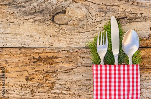 Zdjęcie XXL Ustawienie stołu zimą w czasie świąt Bożego Narodzenia