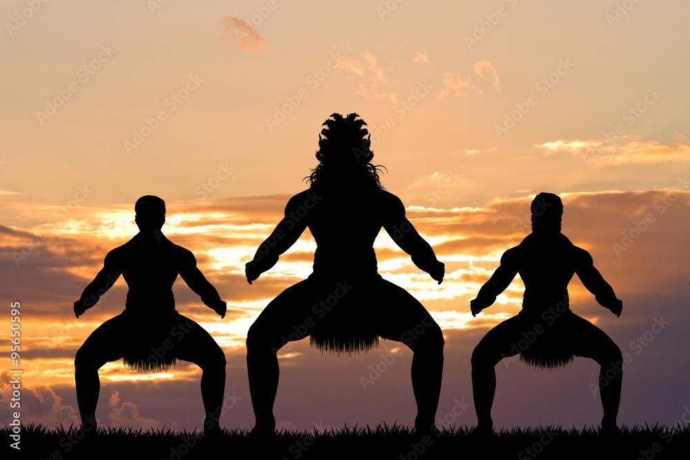 Fototapeta Maori dance at sunset
